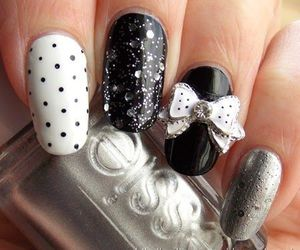 nails, black and white, and fashion image