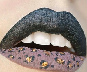 lips, black, and leopard image
