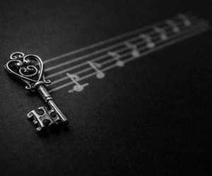 music, key, and black and white image