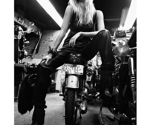 black and white, moto, and blond image