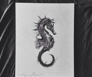 paint, seahorse, and watercolor image