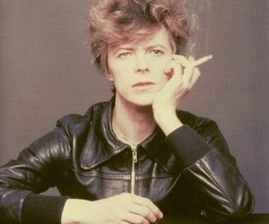bowie, cigarette, and leather jacket image