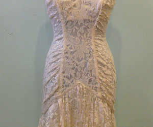 dress, strapless, and lace image