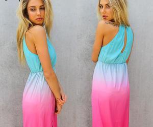 boho, dress, and hot pink image