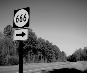 666, black and white, and hell image