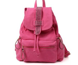 backpack, pink, and rhinestones image
