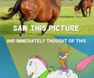 bugs bunny, funny, and horse image