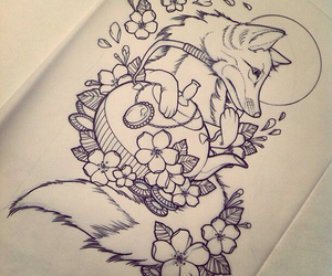 tattoo, flowers, and fox image