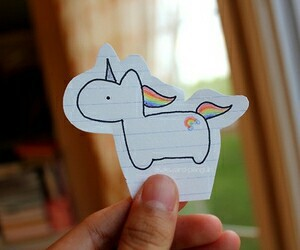 unicorn, drawing, and rainbow image