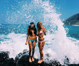 beach, best friends, and paradise image