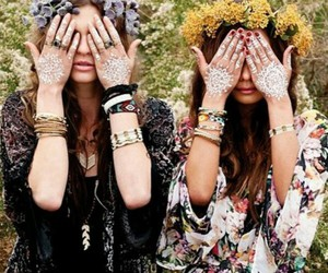 flowers, girls, and hippie image