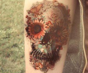 tattoo, skull, and flowers image