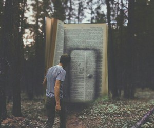 book, forest, and door image
