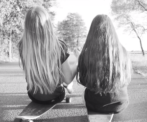 best friends, longboard, and skater girl image