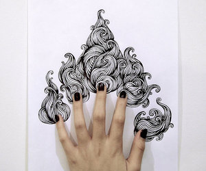 black, fingers, and nails image