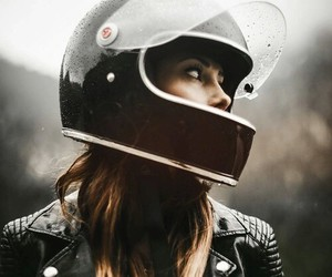 girl, helmet, and motorcycle image