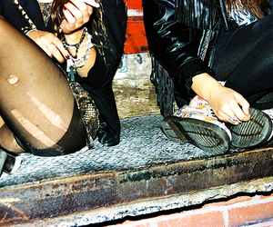 girl, friends, and tights image