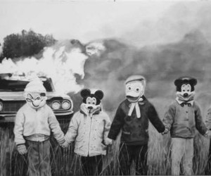 disney, black and white, and fire image