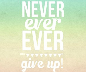 quote, never give up, and never image