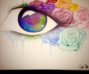 eye, flowers, and galaxy image