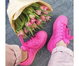 adidas, flowers, and pink image