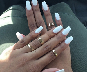 golden, rings, and white nails image