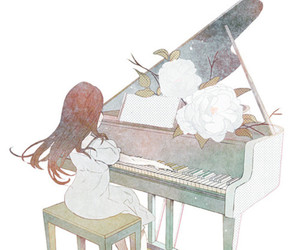 piano, music, and anime image