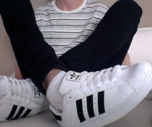 adidas, black and white, and boy image