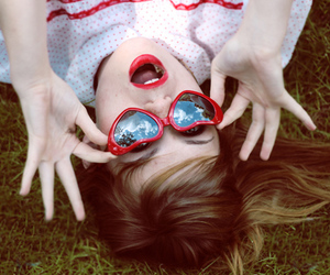 girl, red, and red lips image