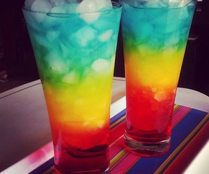 drink, ice, and rainbow image