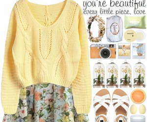 floral, outfit, and yellow image