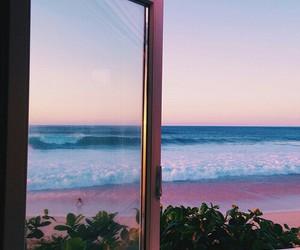 beach, sea, and window image