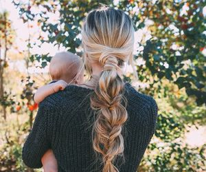 girl, hair, and baby image