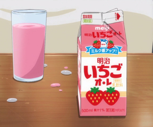anime, milk, and strawberry image