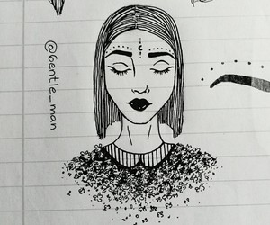 black and white, dark, and doodle image