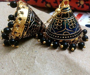 blue, jhumka, and indian image