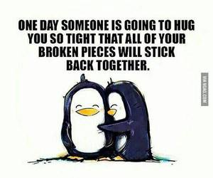 hug, love, and penguin image