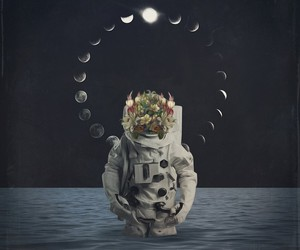 space, art, and moon image