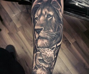 tattoo, lion, and owl image
