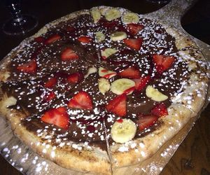 chocolate, fruit, and pizza image