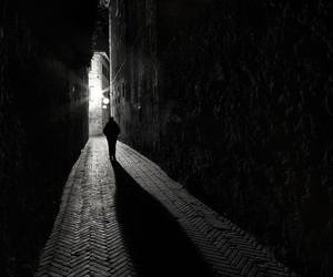 alley, black and white, and dark image