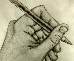 art, hands, and pencil image