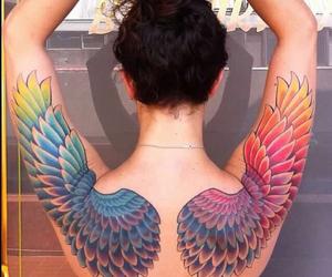 tattoo, rainbow, and wings image