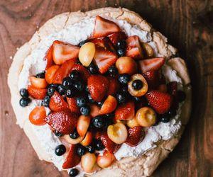 berries, food, and pavlova image