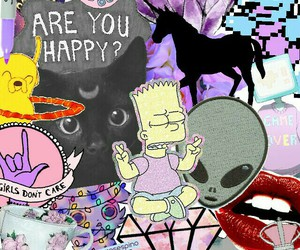 bart simpson, colage, and gato image