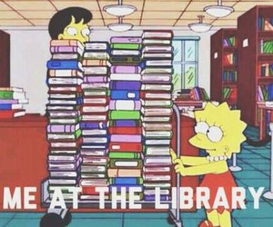 book, library, and simpsons image