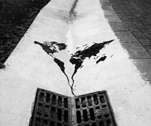 black and white, drain, and world image