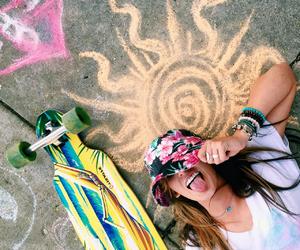 art, girl, and longboard image