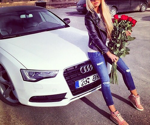 girl, blonde, and audi image