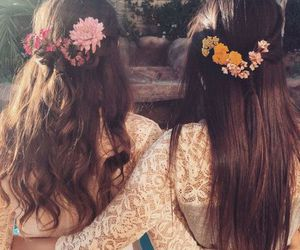 flowers, hair, and lace image